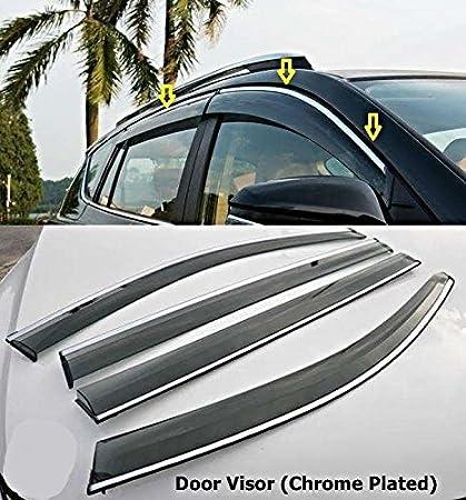 Automaze Quara Side Wind-ow Deflector Rain Door Visor For Breeza Brezza | Chrome/ & Automaze Quara Side Wind-ow Deflector Rain Door Visor For Breeza ...