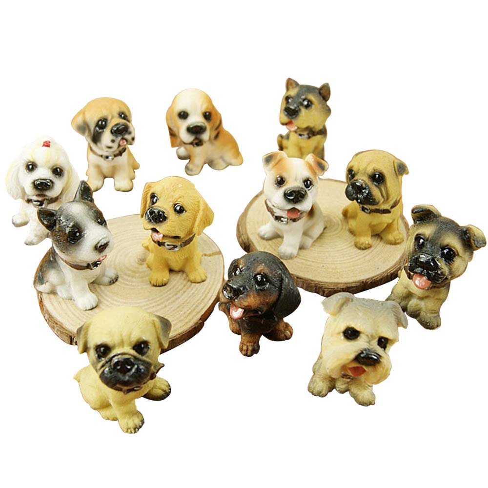 Wgg Puppy Figurines Resin Dogs Figurines Realistic Detailed Cute Puppy Figures Hand Painted Emulational Dog Figurines Toy Set for Christmas Birthday Gift Home Office Desktop Ornaments, Set of 12