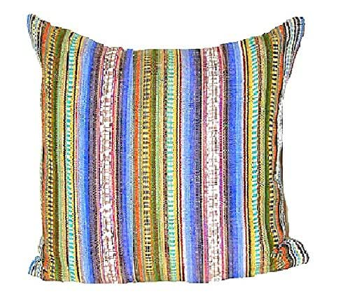 colorful handwoven throw pillow cover 20x20 handloom embroidery stripe custom. Black Bedroom Furniture Sets. Home Design Ideas