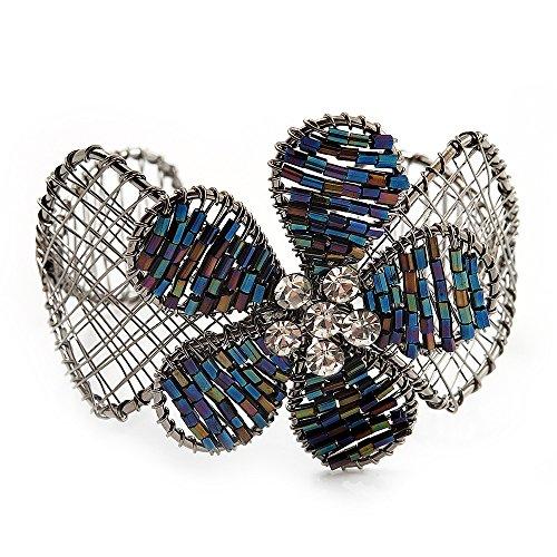 (Avalaya Silver Tone Beaded Flower Wire Flex Cuff Bracelet - 20cm Length)