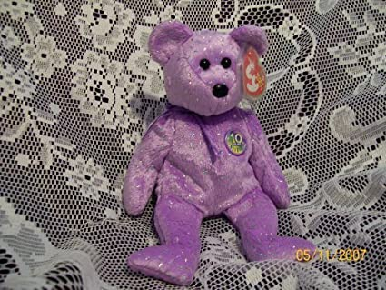 Image Unavailable. Image not available for. Color  TY Beanie Baby - DECADE  the Bear (Purple ... 104e594c07d6