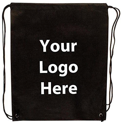 "Econo String Backpack - 100 Quantity - $1.30 Each - PROMOTIONAL PRODUCT / BULK / Branded with YOUR LOGO / CUSTOMIZED. Size: 14"" W x 11"" H. by Sunrise Identity"