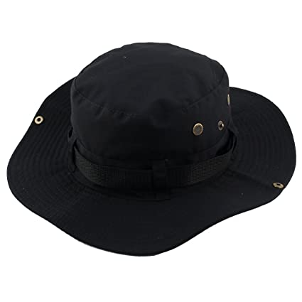 dfbba0289f6 Buy Black   Generic Fisherman Outdoor Sports Hiking Hunting Adjustable  Strap Wide Brim Sun Protector Bucket Summer Cap Fishing Hat Online at Low  Prices in ...