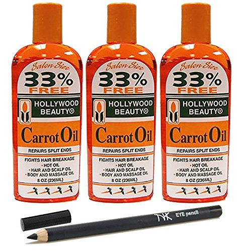 Hollywood Beauty Carrot Oil 8 oz (3 Pack) with 1 Nick K Pencil