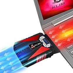 KLIM k292 - Cool Refroidisseur - PC Ventilo Portable Gamer - Ventilateur Haute Performance pour Refroidissement Rapide - Extracteur d'Air Chaud USB Rouge - Nouvelle Version