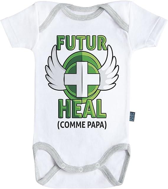 - Body B/éb/é Manches Courtes Coton Baby Geek Futur DPS comme Papa Coutures Grises Version gar/çon Blanc