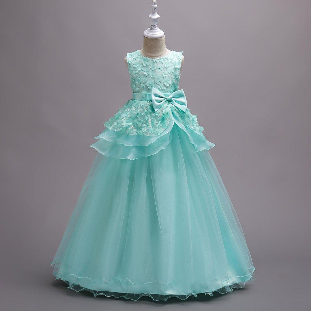Vestidos De Noche De Las Niñas Vestido De Princesa De La Boda Vestido De Niña Vestido De La Falda De Pastel De Flores Infantil Vestido De Color Sólido (Azul ...