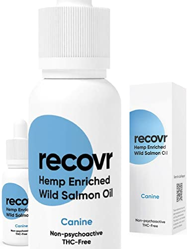 Hemp Oil Infused with Wild Alaskan Salmon Oil for Dogs by RECOVR – for Pain Relief, Stress, Anxiety, Joint Pain, Arthritis, and Seizure Reduction Treatment – 500mg All Organic Treat