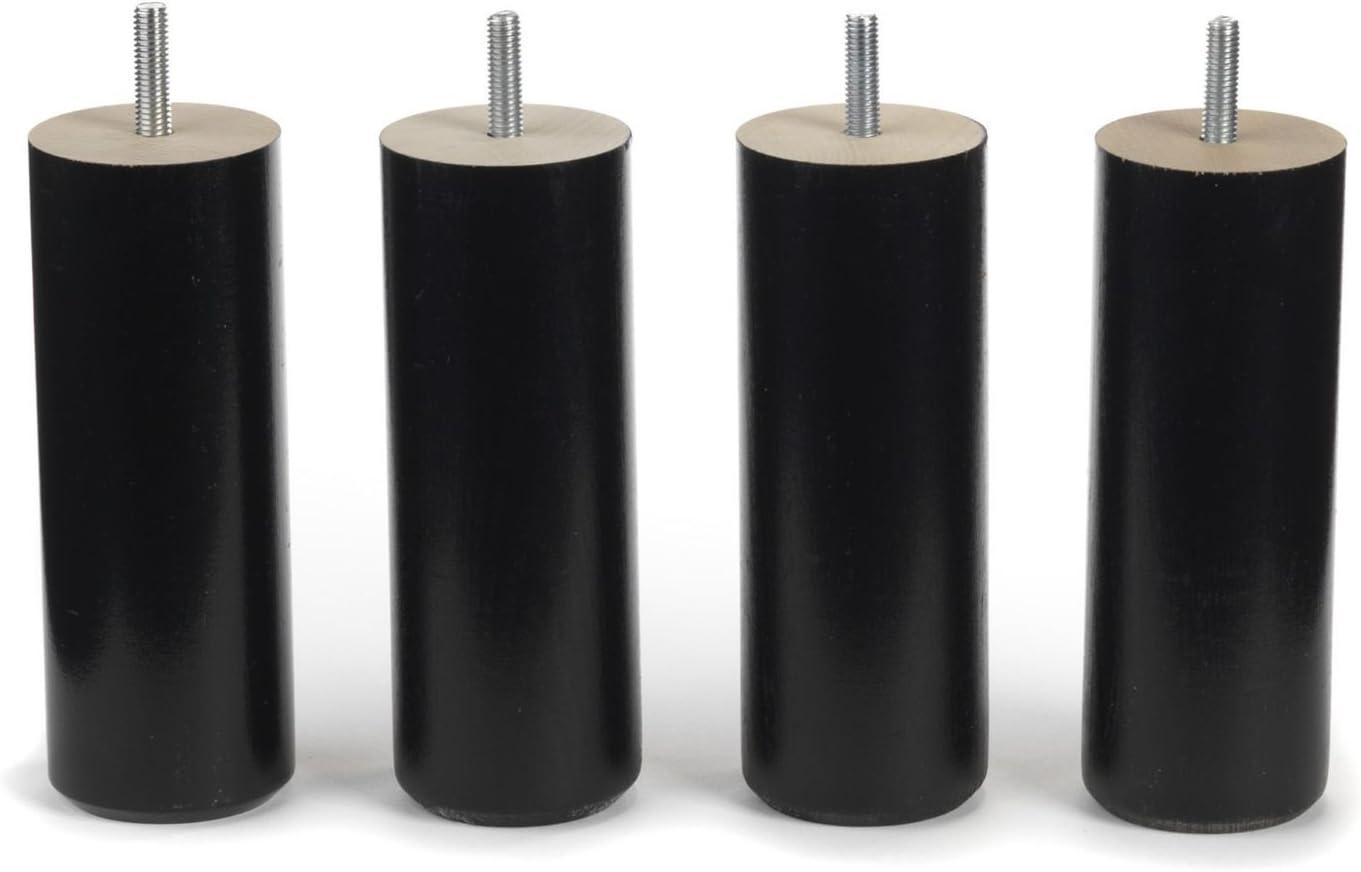 Tige Filet/ée M8 Pied 25 cm Noir Pour Sommier Cadre Bois Standard Uniquement