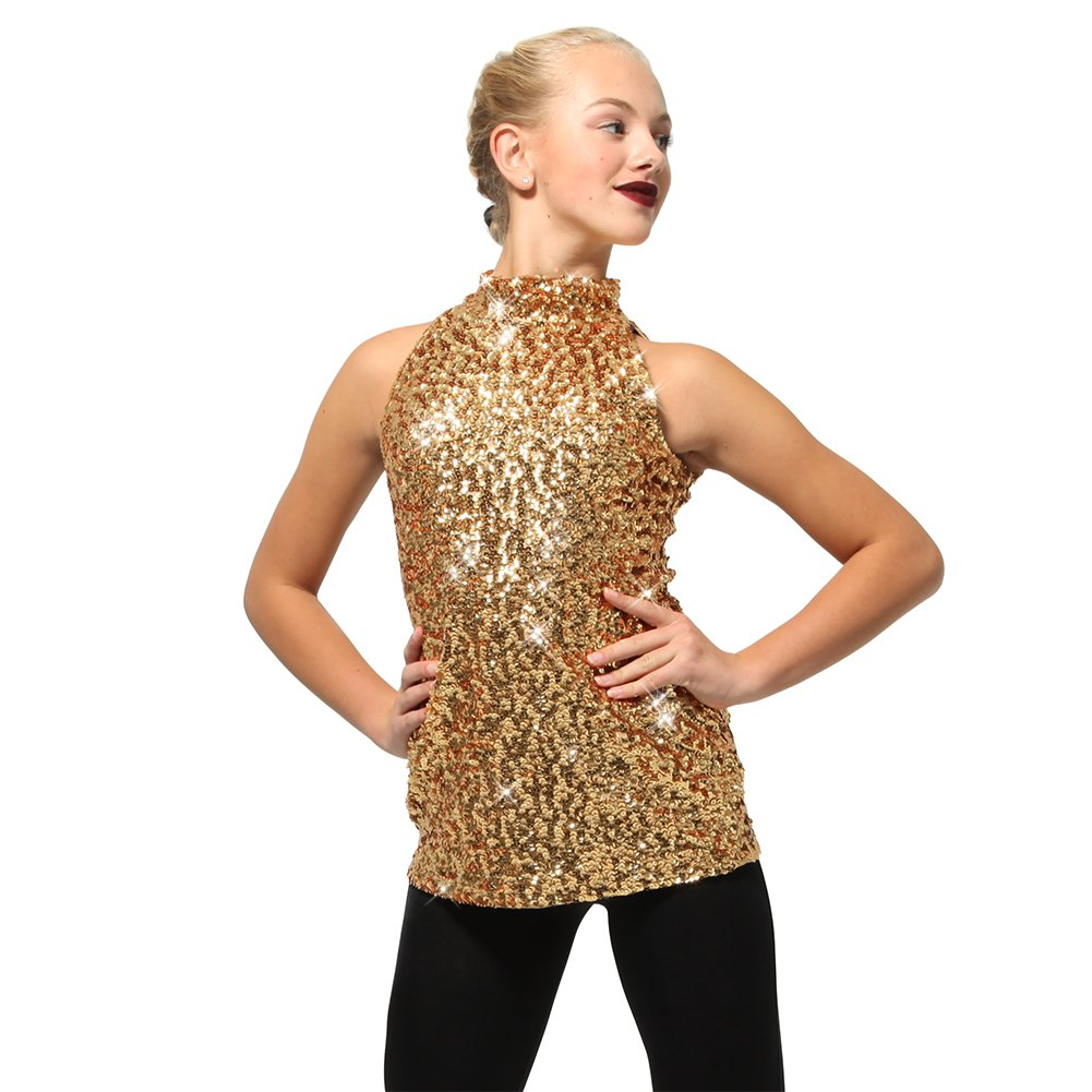 Alexandra Collection Youth Sequin Mock Neck Performance Dance Costume Tank with Zip-Up Back Gold 10 by Alexandra Collection