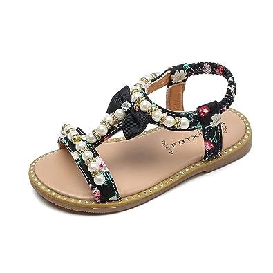 Amazon.com: Lanhui bebé niña sandalias lazo perlas de vidrio ...