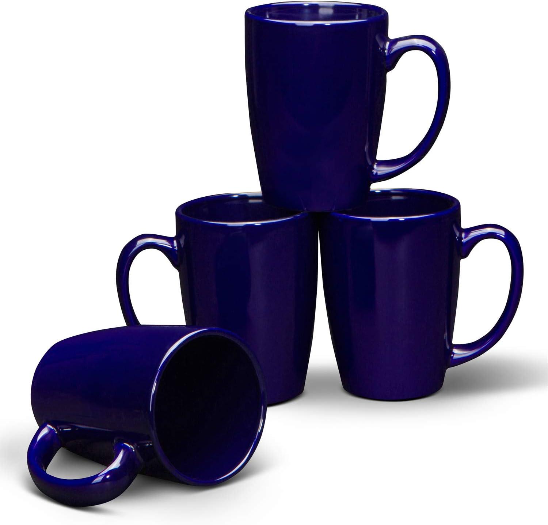 Serami Cobalt Blue Coffee Mugs with Large Handles and 14oz Capacity, Set of 4