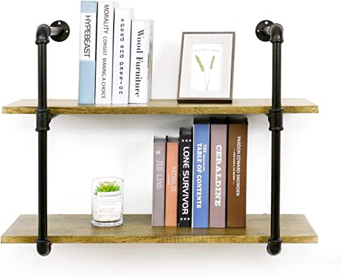 YU YUSING 2 Tier Industrial Pipe Shelf with Wood Metal, Rustic Hanging Wall Shelves for Bedrooms, Bathroom Shelving, Kitchens Coffee Shops or Bar Storage