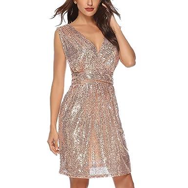 3e340e5eb34 Amazon.com  Aribelly Women s Sequin Bridesmaid Dress V-Neck Pleated ...