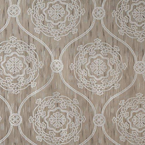 Madison Park Dora Jacquard Medallion Pattern Vintage Modern Cute Bathroom Shower Curtain 72X72 Inches Taupe