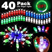 40 Pack Light Up Toy Glow In The Dark Party Supplies with 39 LED Finger Light,1 Glow Bracelet Halloween Decoration for Kids Boy Girl Adult Neon Party Favor Pack Toy Assortment Birthday Christmas Gift Box