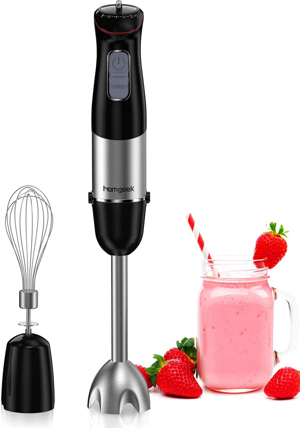 homgeek Immersion Hand Held Blender 500w 6-Speed, Stainless Steel Emulsion Blender with Egg Beater BPA Free for Hot Soup Sauces Juices Smoothies Puree Infant Food Black