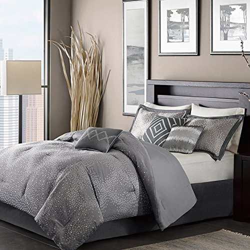 Madison Park Stylish Premium Quality Elegant Quinn Grey 7 Piece California King Size Comforter Set 1 Comforter, 2 king shams, 1 bed skirt, 3 decorative pillows