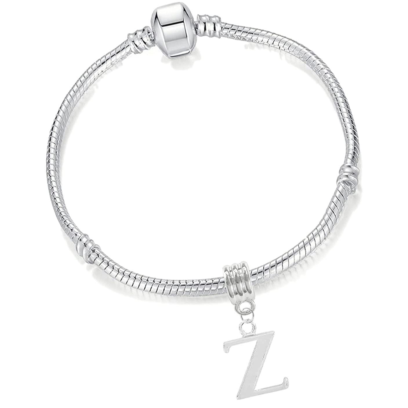 Girls 17cm Silver Plated Starter Charm Bracelet with Alphabet Letter Name Initial Charm Buddy ®