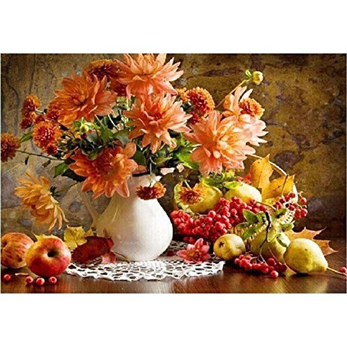 Paint-by-numbers Kits for Adults DIY Digital Oil Painting Coloring on Canvas Hand Painted Painting By Handmade - Flowers and Apples 16x20 Inch with Brushes and Pigment (Without Frame)