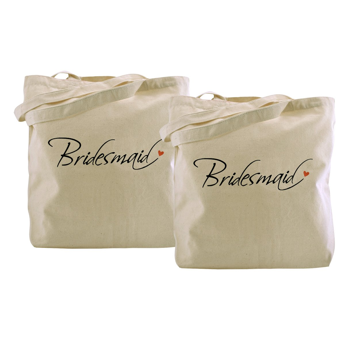 ElegantPark Bridesmaid Tote Bag Wedding Bridesmaid Gifts 100% Cotton 2 Pcs by ElegantPark
