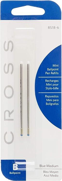 Cross Style Mini Ball Pen Refill 12 PC Pack Medium Blue,Fits Tech3,Autocross