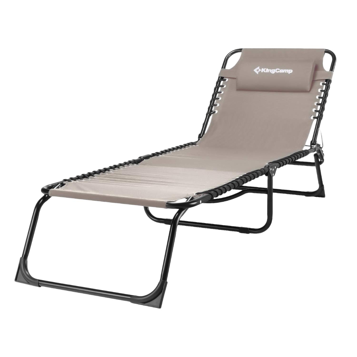 KingCamp Patio Lounge Chair Chaise Bed 3 Adjustable Reclining Positions Steel Frame 600D Oxford Folding Camping Cot with Removable Pillow for Camping Pool Beach Supports 300lbs, BEIGE by KingCamp