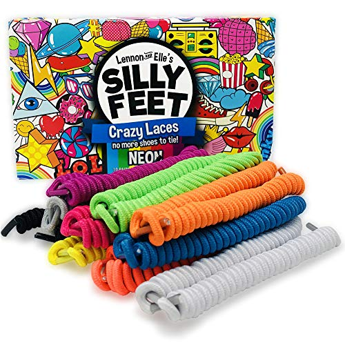 Silly Feet No Tie Shoelaces Kids Shoe Laces Curly Twisty Elastic Shoe Strings Children Toddler Laces 10 Pairs Neon -