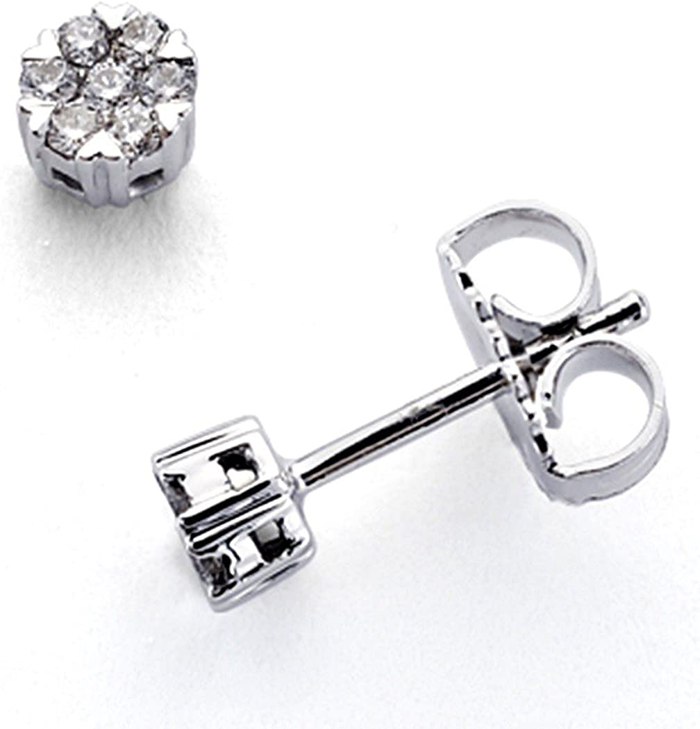 Pendientes oro blanco 18k 14 diamantes brillantes 0,15ct [7346]
