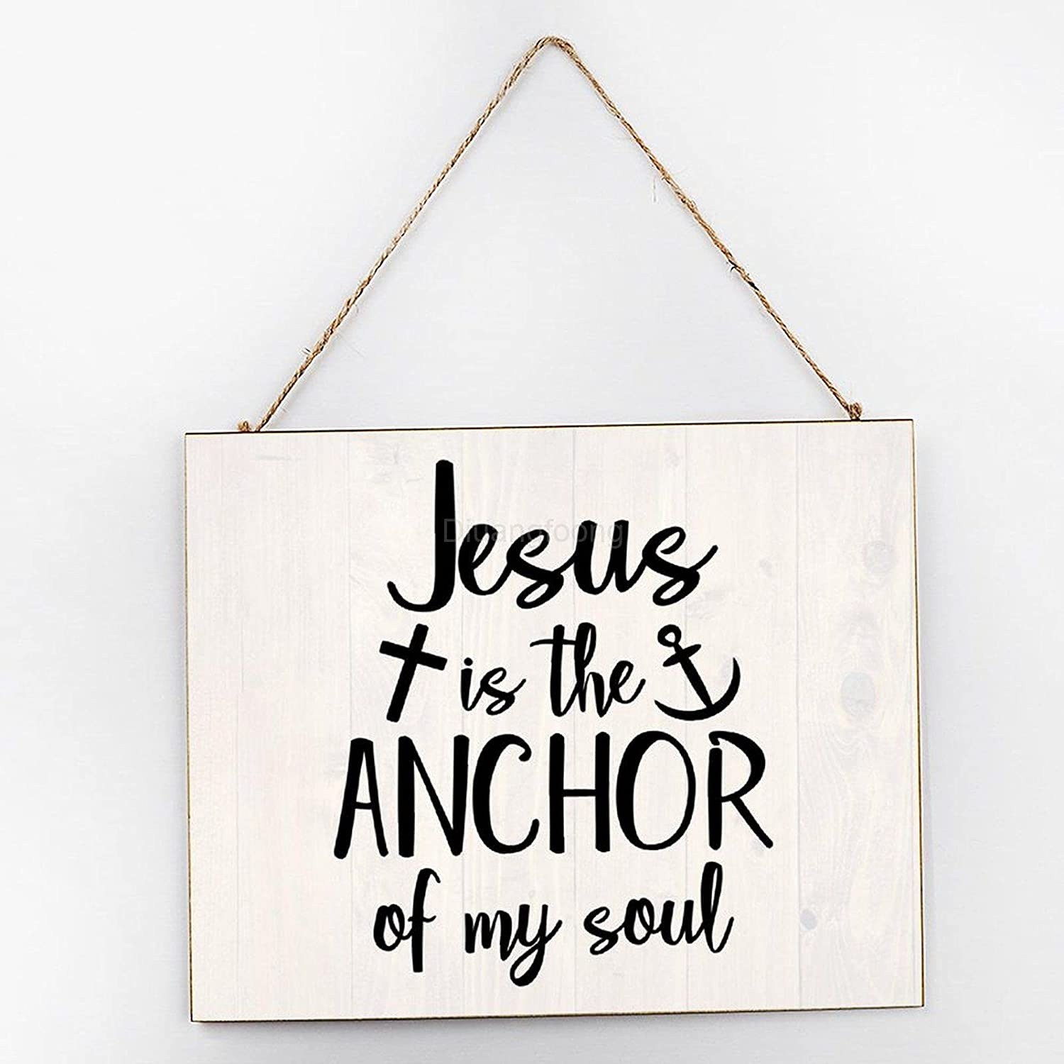 Diuangfoong The Anchor of My Soul Sign Inspirational Wall Art, Inspirational Signage, Wooden Signs for Home Decor Kitchen Bathroom, Wooden Frame Wall Hanging Sign 10x12x0.2 Inch
