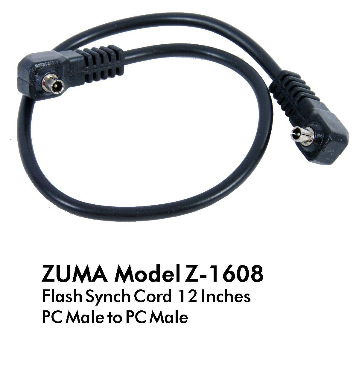 Black ZUMA PHOTO.VIDEO Z-1640 Flash Sync Cord 16 3.5mm Miniphone to PC Male