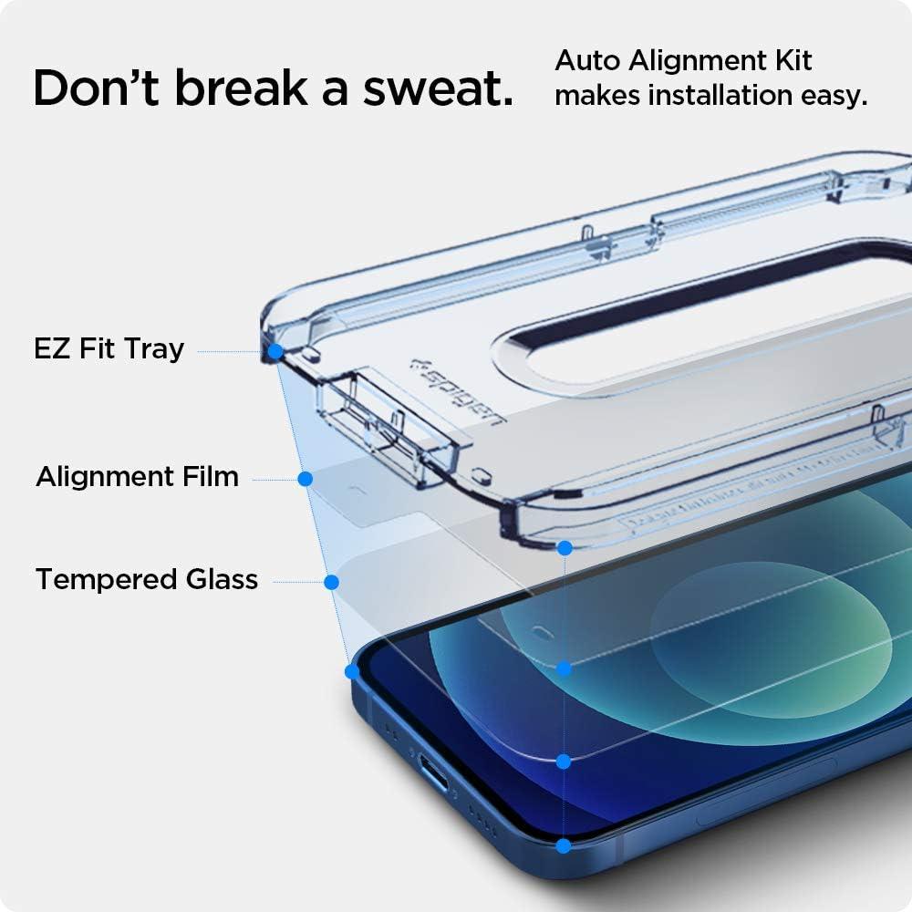 9H Protection /écran Spigen Glas.TR EZ Fit Verre Tremp/é Compatible avec iPhone 12 Mini 2 Pi/èces R/ésistant aux Rayures