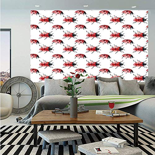 Watercolor Huge Photo Wall Mural,Lady Bug Pattern Cute Animal Design Insect Ornamental Spring Image Decorative,Self-Adhesive Large Wallpaper for Home Decor 100x144 inches,Vermilion Black White