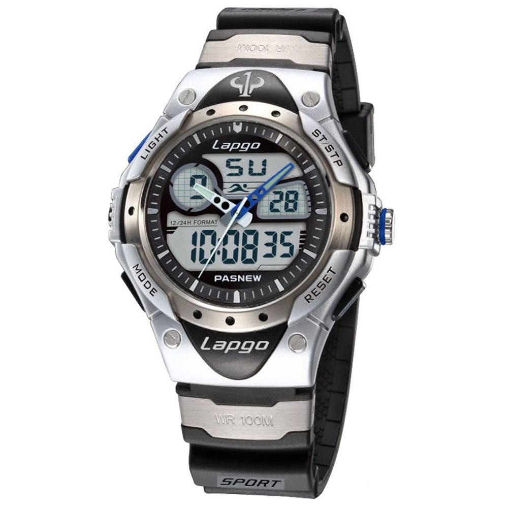 Boys Sports Watch 100M Waterproof Analog Digital Dual Time High Quality Unisex Teens Wrist Watches 388AD Silver