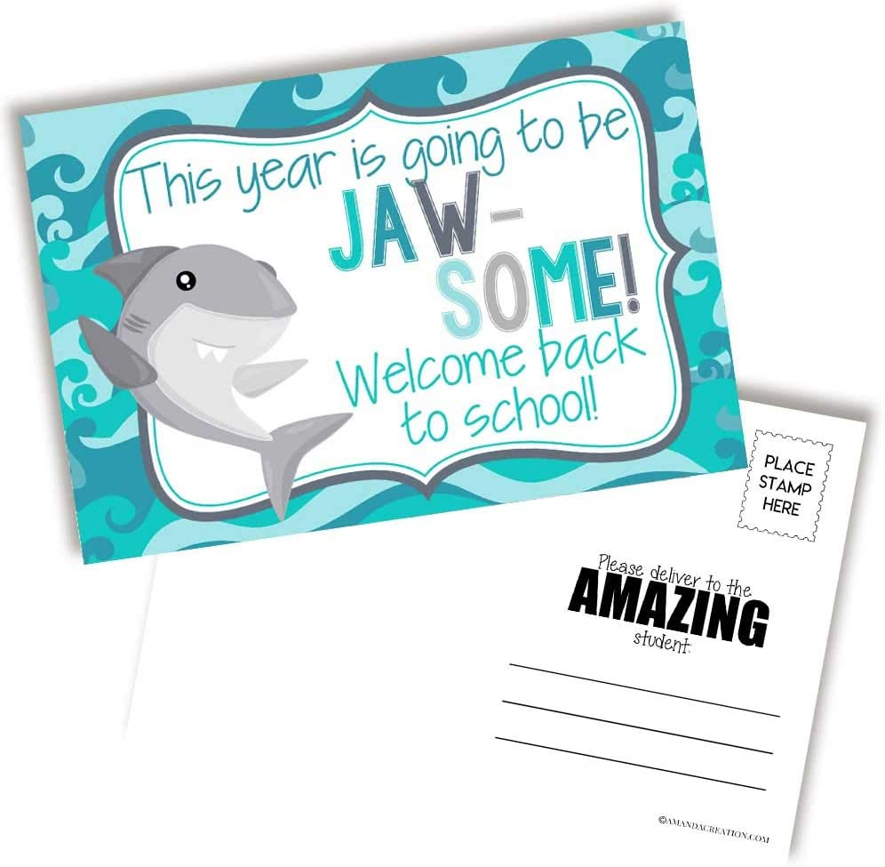 "Awesome Shark Themed Welcome Back To School Blank Postcards For Teachers To Send To Students, 4""x6"" Fill In Notecards by AmandaCreation (30)"