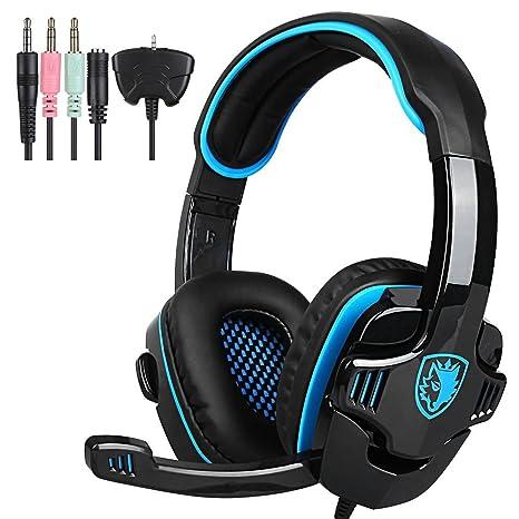 SADES SA-708GT 3.5mm Gaming Kopfhörer Mic Noise Cancellation Musik Headset Schwarz-blau Upgrade Version von SA-708 für PS4 XB