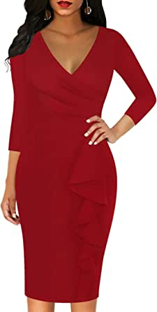 Sakaly Women's 3/4 Sleeve Faux Wrap V Neck Sheath Casual Party Work Pencil Dresses SK300-7