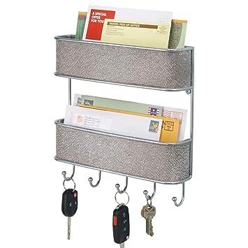 mDesign Organizador de llaves de pared – Colgador de llaves metálico con dos bandejas – Organizador de cartas plateado