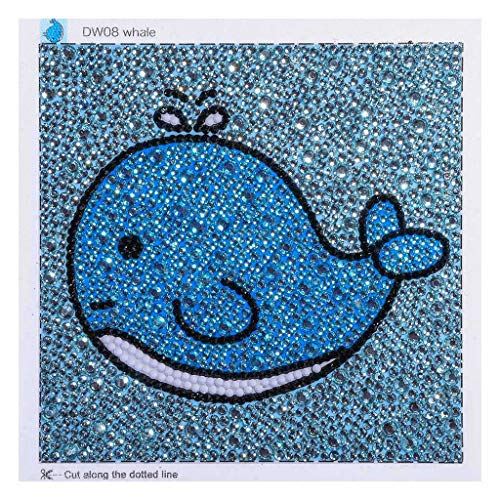 l Cross Stitch Kits 5D DIY Crystal Diamond Cartoon Animal Painting Kits for Children Baby Kid 15x15cm (Whale) ()