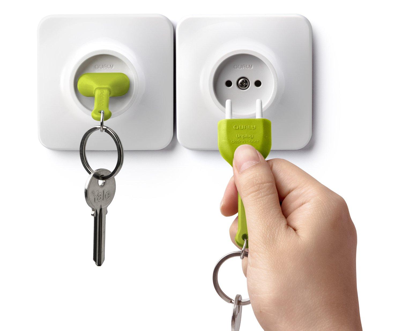 Llavero y Soporte para Llavero con Forma de Enchufe QUALY Double Unplug Key Ring