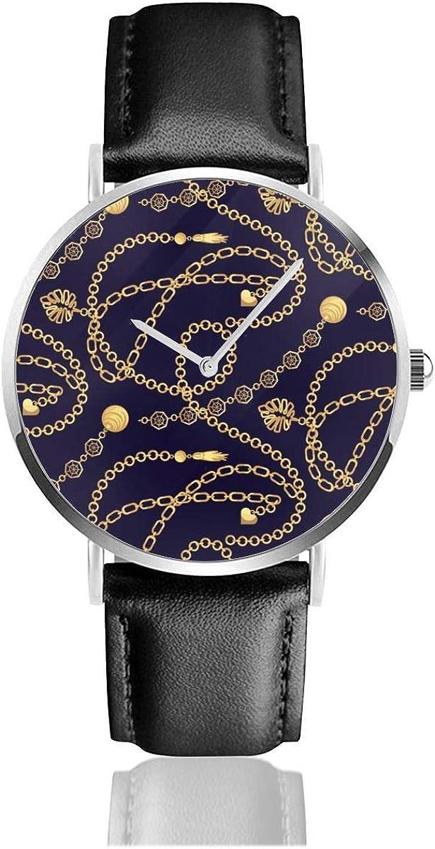 Watches Reloj de Pulsera Analógico Monoaguja de Cuarzo para Hombre Reloj para Hombre de Cuarzo Patrón de Collar de Colgantes de Cadena de Oro con Correa en Cuero