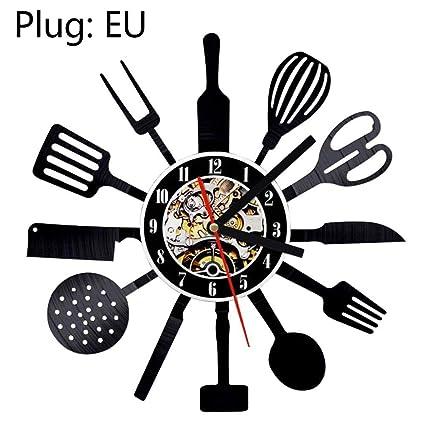 D Cubiertos Reloj pared Diseño morno Cuchara Tenedor Reloj cuarzo Reloj cocina Estilo retro