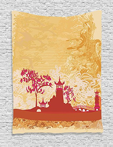 Supersoft Fleece Throw Blanket Asian Temple in Floral Environment with Other Ethnic Asian Religion Elements Art Print Persian Orange Pink
