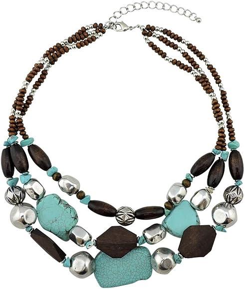 Bocar 2 Multi Layer Chunky Statement Acrylic Women Collar Necklace bocarjewelry NK-10544