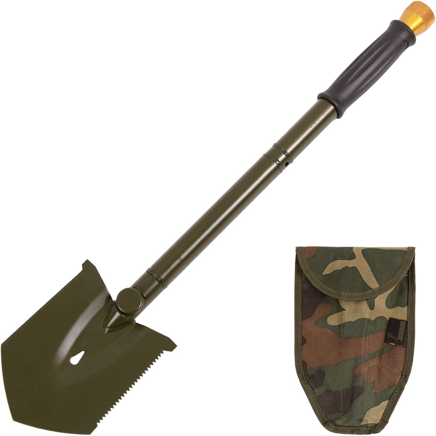 REDCAMP Military Folding Camping Shovel High Carbon Steel Entrenching Tool Tri-fold Handle Shovel with Cover