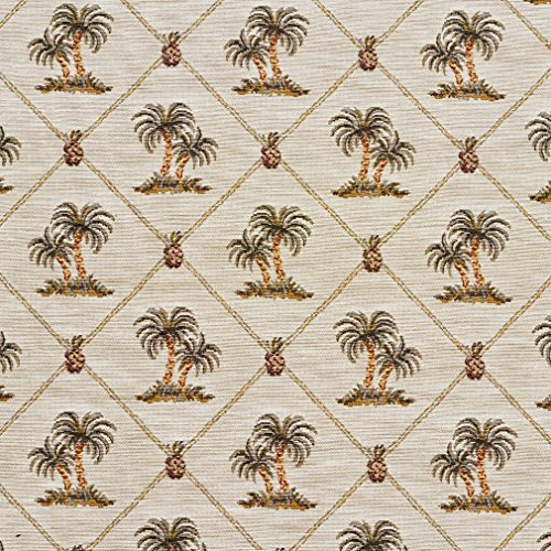 - Beige and Green Tropical Pineapple and Palm Tree Island Pattern Tapestry Upholstery Fabric by the yard