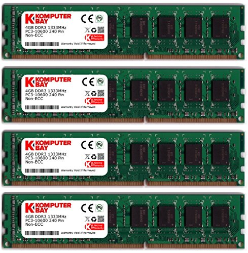 (Komputerbay 16GB (4 X 4GB) DDR3 DIMM (240 pin) 1333Mhz PC3 10600 / PC3 10666 16 GB KIT)