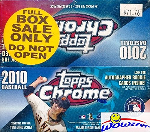 2010 Topps Chrome MLB Baseball HUGE 24 Pack Factory Sealed Retail Box! Look for Rookies, Parallels and Autographs of Mike Giancarlo Stanton, Stephen Strasburg & Many More! from Wowzzer