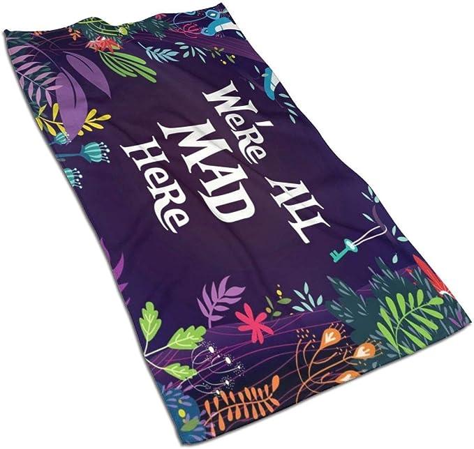 N//A Yoga Asciugamano Morbido con Scritta We Are all Mad Here Spiaggia 69,8 x 44,5 cm per casa
