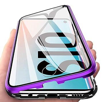 Eabhulie Galaxy S10 Funda, Metal Bumper con Adsorción Magnética + 360 Grados Vidrio Templado Cobertura de Pantalla Completa Carcasa para Samsung ...